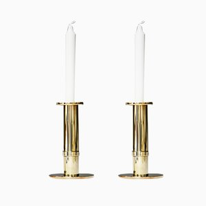 Vintage Brass Candleholders by Sigurd Persson, Set of 2