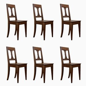 Walnut Dining Chairs, 1830s, Set of 6