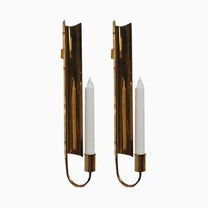 Brass Wall Candleholders by Pierre Fossell for Skultana, 1970s, Set of 2
