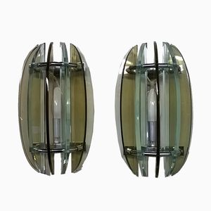 Glass Wall Lights from Veca, 1960s, Set of 2