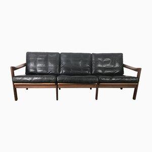 Dänisches Sofa aus Teak & Leder von Illum Wikelslø für Niels Eilersen, 1960er