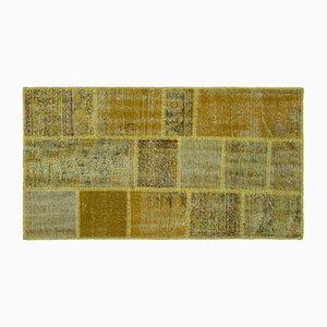 Alfombra amarilla de patchwork, años 60