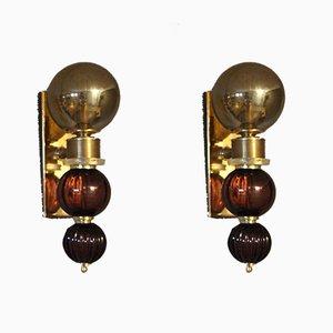 Applique in vetro di Murano viola e grigio, Italia, anni '80, set di 2