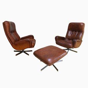S 231 2 Sessel & Fußhocker von de Sede, 1960er