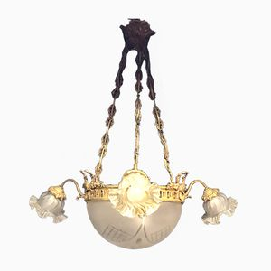 Vintage Bronze and Opal Engraved Glass Chandelier