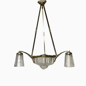 Lámpara de araña Art Deco de bronce