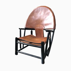 Leather Hoop Armchair by Piero Palange & Werther Toffoloni, 1972