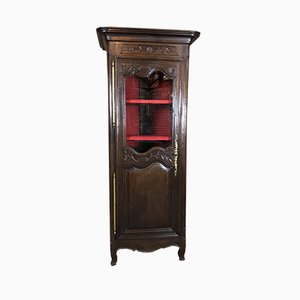 Antique Provencal Cabinet with Glass & Carved Oak