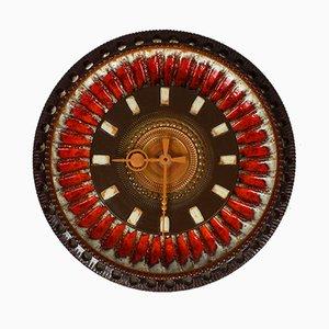Reloj de pared grande de cerámica Fat Lava de Silberdistel, años 60
