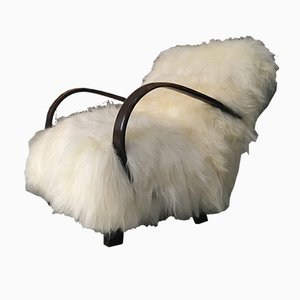 Art Deco Sheepskin Bentwood Lounge Chair by Jindřich Halabala, 1950s