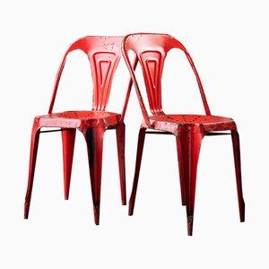 Chaises Vintage Rouge par Joseph Mathieu pour Multipls, 1950s, Set de 2