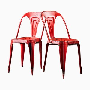 Red vintage chairs by Joseph Mathieu for Multipls, 1950s, Set of 2