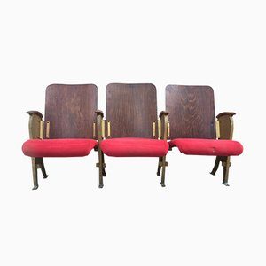 Three-Seater Theater Bench from Fourel, 1940s