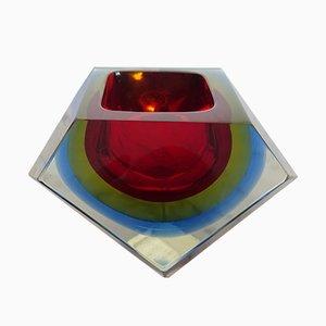 Cuenco de cristal de Murano de Flavio Poli para Seguso, años 60