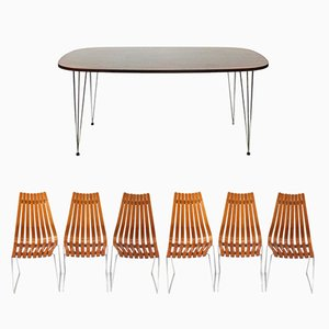 Rosewood Dining Table and 6 Chairs by Hans Brattrud for Hove Møbler, 1965