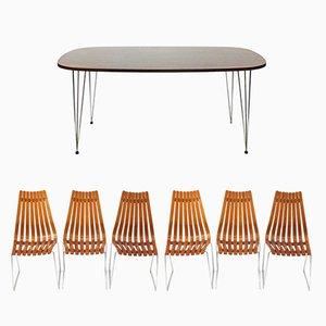 Tavolo da pranzo in palissandro con sei sedie di Hans Brattrud per Hove Mobler, 1965