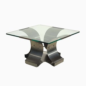 Italian Stainless Steel Coffee Table by Francois Monnet, 1970s