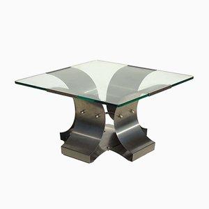 Mesa de centro italiana de acero inoxidable de Francois Monnet, años 70