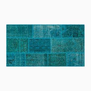 Turquoise Patchwork Carpet, 1960s