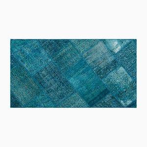Alfombra turquesa de patchwork, años 60