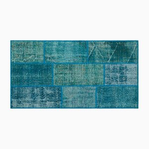 Tapis Patchwork Turquoise, 1960s