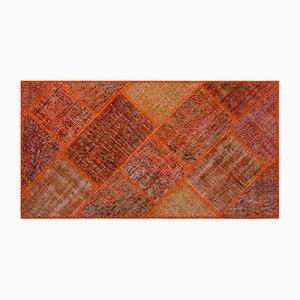 Orangener Patchwork Teppich, 1960er