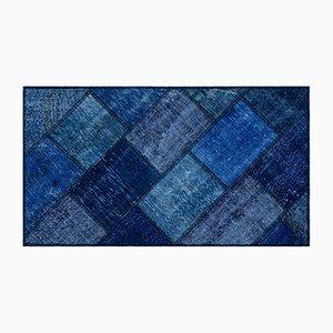 Blauer Patchwork Teppich, 1960er