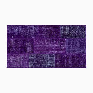 Violetter Patchwork Teppich, 1960er