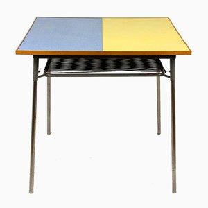 Tavolo da cucina in formica gialla e blu, anni '70