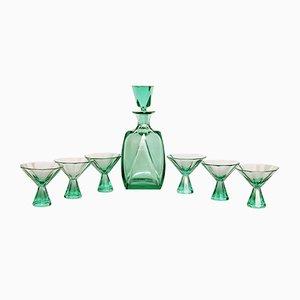 Juego de bebidas Art Deco de cristal tallado, años 30