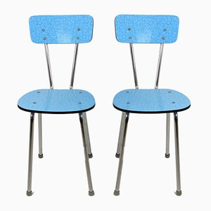 Blue Formica Kitchen Chairs, 1970s, Set of 2
