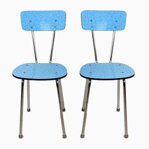 Küchenstühle aus blauem Resopal, 1970er, 2er Set
