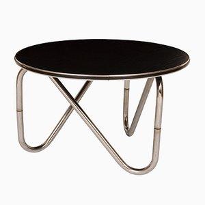Tavolino da caffè in frassino nero e metallo cromato, anni '60