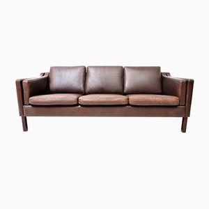 Danish Leather Sofa, 1950s