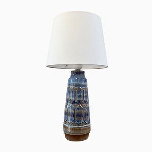 Lampada da tavolo in ceramica grigia e blu di Einar Johansen, anni '60