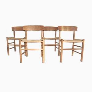 J39 Oak Chairs by Børge Mogensen for FDB Kvist Mobler, 1947, Set of 4