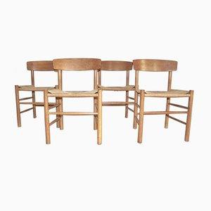 J39 Stühle aus Eiche von Børge Mogensen für FDB Kvist Mobler, 1947, 4er Set
