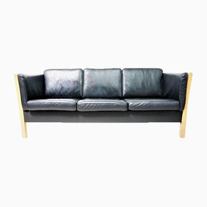 Vintage Danish Leather & Wood Sofa