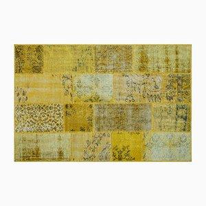 Gelber Patchwork Teppich, 1960er