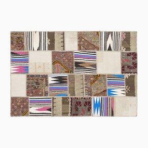 Tappeto Kilim patchwork a strisce, anni '60