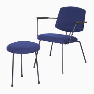Vintage Chair with Stool by Rudolf Wolf for Elsrijk