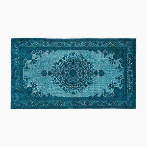Türkisfarbener Teppich mit eingeschnittenem Muster, 1960er