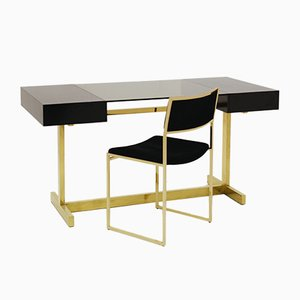 Desk & Chair in Lacquered Wood, Brass & Smoked Glass by Willy Rizzo for Elam, 1970s