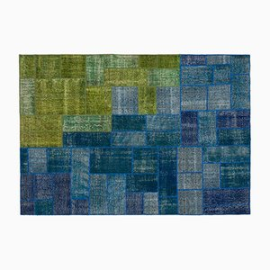 Tapis Patchwork Bleu et Vert, 1960s
