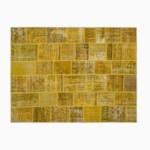 Tappeto giallo patchwork, anni '60