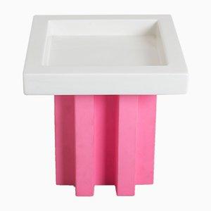 Obstschale aus Keramik in Weiß & Pink von Ettore Sottsass für Bottega D'arte Ceramiche Gatti, 2001