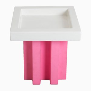 White and Pink Ceramic Fruit Bowl by Ettore Sottsass for Bottega D'arte Ceramiche Gatti, 2001
