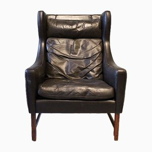 Leather & Rosewood Lounge Chair, 1960s
