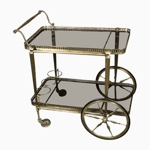 Brass & Smoked Glass Serving Trolley, 1970s