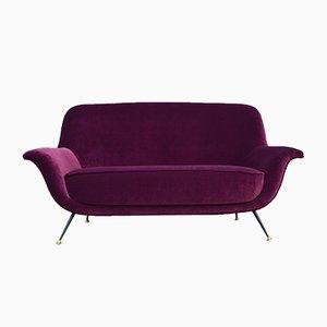 Italian Velvet Sofa, 1950s